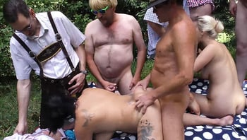 Real outdoor oktoberfest group orgy