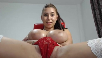 Massive boobs slim latina playing with dildo