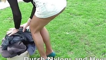 Outdoor pantyhose teasing