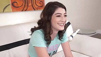 Cute girl Aria Gold tries porn doing her first casting shoot
