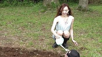 Japanese CFNM Femdom Risa waters the human plants