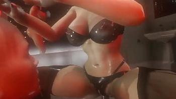 3D SFM VR Huge tits latex mistress electro stim, precum