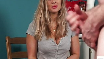 Busty english voyeur shows panties during JOI