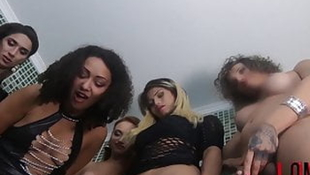 5 Girls + 5 Tgirls facesit, piss & cum on sub Lucky Bitch 1