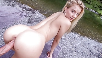 Hot Young Petite Blonde Teen Fucked Outdoors Hiking POV