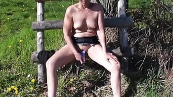 German amateur bitch outdoor with dildo