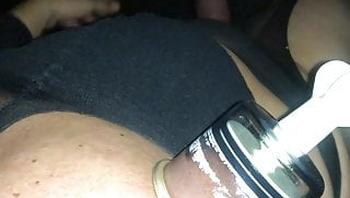 Outdoor in Nylons & Heels with Cock Pump & Nipple Suckers