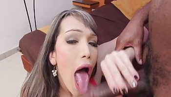 Pink lingerie tranny loves black cock
