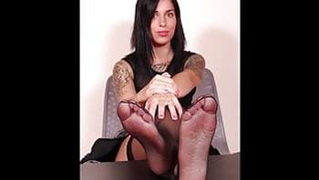 ImageSet Cute Brunette in Black Stockings Nylon Feet Gallery