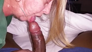 Huge Tits Whore Gagging on Thick Black Cock