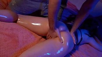 Lover Oil Massage Vagina Hot Brunette and Jerk Off to Squirt