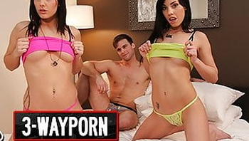 3-Way Porn - 2 Girls on 1 Cock BJs