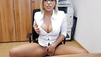 hot blonde german whore office BJ