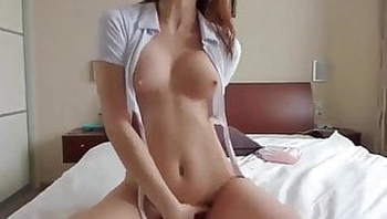 Hot Brunette With Perfect Body Rides On Her Dildo