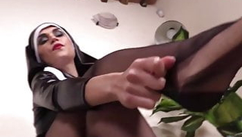 Hot Cosplayer shows feet in nylons as a nun and nurse