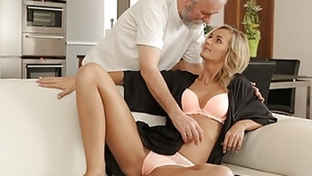 OLD4K. Old and young couple make love