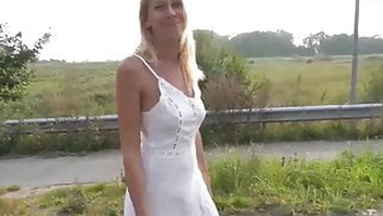 Hot German MILF picked up and creampied POV