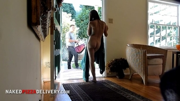 Another Sweet Girl Dropping her Towel for Food Delivery