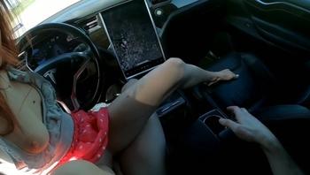 TINDER DATE CUMS IN ME IN a TESLA ON AUTOPILOT