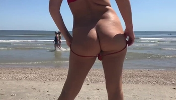 Slut Flashing Ass and Pussy at Beach
