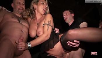 Blonde MILF Public Gangbang Dogging