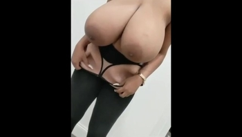 Big Ebony Jiggly Titties Huge Natural on a Skinny Chic