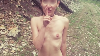 "Tiny ""fun in the Forest"" Risky Striptease BJ and Fuck"