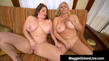 Huge Boobed Milfs Maggie Green & Karen Fisher Love Pussy!