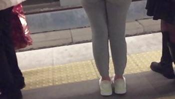 Sweety Girl in Rail Station