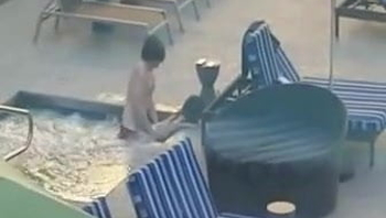 Caught in the hotel pool