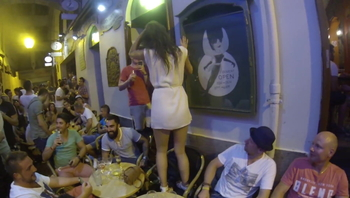 Sexy girl drunk and horny in public